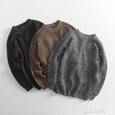 簡約休閒秋款男士寬鬆圓領套頭針織毛衣插肩袖純色粗毛線外套潮『艾麗花園』