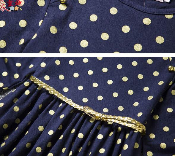 衣童趣 ♥可愛 圓領點點 甜美連身洋裝 休閒百搭長袖連身裙 附腰帶