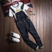 潮男牛仔背帶褲韓版修身青少年百搭小腳連體吊帶褲黑色個性牛仔褲