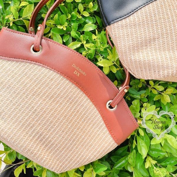 《花花創意会社》韓國。質感DX藤編皮革側背包百搭新款歐膩包 2色【H7204】