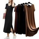 +R2015V領開叉長裙# 夏裝大碼短袖...