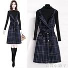 小香風背帶裙女2020年秋季新款收腰顯瘦氣質吊帶連衣裙子兩件套裝 蘿莉新品