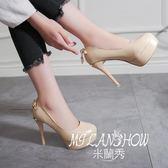韓版防水臺圓頭高跟鞋百搭淺口細跟單鞋時尚性感鞋