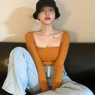 低胸上衣 新款韓版春裝低胸上衣女修身性感方領長袖T恤洋氣薄款打底衫