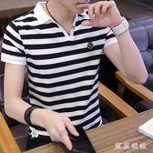 POLO衫 男士短袖t恤翻領polo衫夏裝潮流體桖條紋半袖 QQ6663『東京衣社』