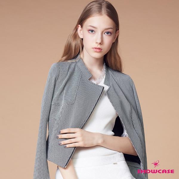【SHOWCASE】細格紋西裝領斜拉鍊合身造型短版外套(黑)