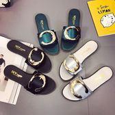 新款韓版時尚方扣平底一字拖女平底休閒防滑學生外穿拖鞋