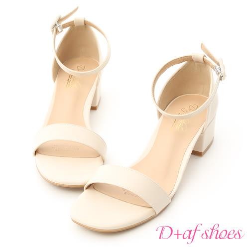 涼鞋 D+AF 完美夏日.一字繫踝方頭低跟涼鞋*米