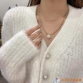 珍珠雙層項鏈女輕奢小眾設計感鎖骨鏈情侶簡約氣質吊墜夜市量販【公主日記】