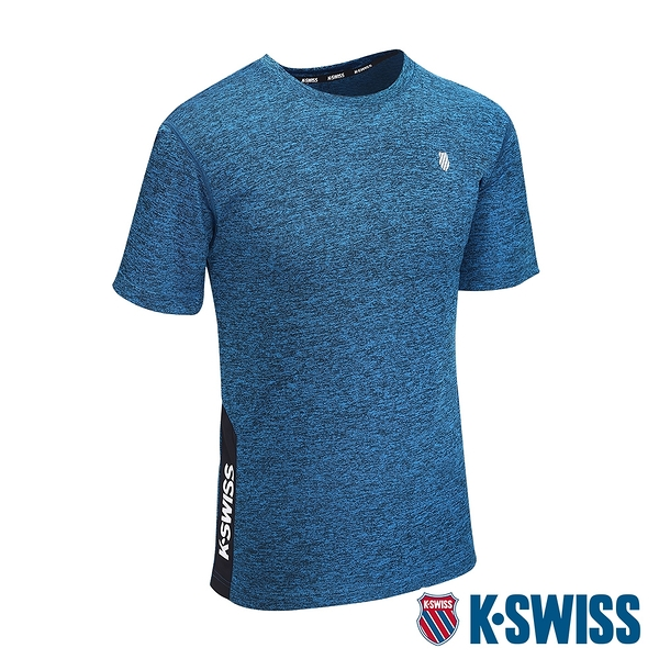K-SWISS Whs Panel Logo Tee排汗T恤-男-藍
