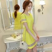 2020春夏新款女裝韓版時尚修身氣質拼接打底裙洋裝女短裙 【韓語空間】