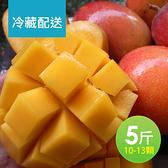 【冷藏-屏聚美食】現貨-產地嚴選優質愛文芒果5斤裝(10-13顆)