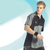 【日本名牌 Nittaku】男女吸濕排汗短POLO衫(藍灰#3739)