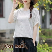 《貓尾巴》JP-03651 小清新繡花圓領短袖上衣(森林系 日系 棉麻 文青 清新)