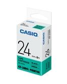 CASIO 標籤機專用色帶-24mm【綠底黑字XR-24GN1】