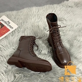 方頭瘦瘦靴單靴馬丁靴女英倫薄款短靴騎士靴【慢客生活】