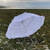 雙花邊長柄傘晴雨傘太陽傘遮陽傘Lolita裙傘【繁星小鎮】