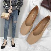 韓版粗跟單鞋女淺口方頭復古奶奶鞋學生懶人鞋中跟小皮鞋 格蘭小舖