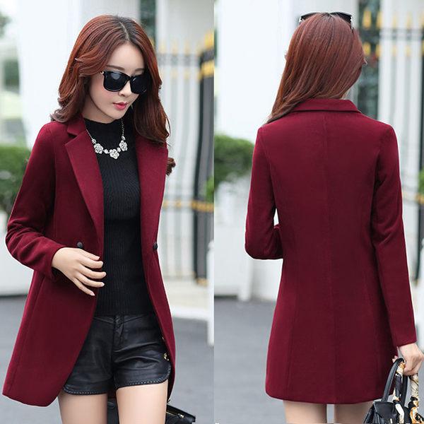 【現貨75】毛呢外套 韓版修身顯瘦呢子大衣 西裝外套 風衣外套(薄款) M~酒紅色 黑色