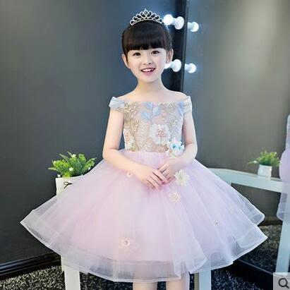 兒童禮服女童公主裙婚紗蓬蓬裙花童鋼琴演出服小主持人晚禮服夏季