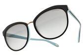 Tiffany&CO.太陽眼鏡 TF4146F 8055-3C (黑金-漸層灰鏡片) 極簡微貓眼款 墨鏡 # 金橘眼鏡
