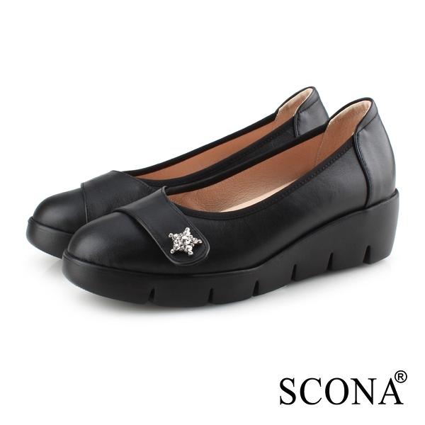 SCONA 蘇格南 全真皮 拇指外翻 輕盈舒適鑽扣楔型鞋 黑色 31081-1