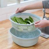 繽紛聖誕 雙層洗菜籃子廚房用品塑料瀝水籃淘米家用收納筐大號洗水果盆加厚