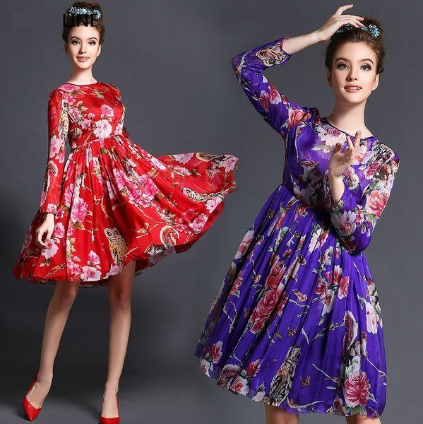 卡樂 store...中大尺碼碎花收腰顯瘦連身裙大裙擺長版洋裝 3色 L-5XL #bl626