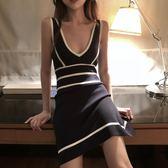 夏季韓版優雅氣質黑白拼色收腰針織連身裙女度假深V領無袖背心裙