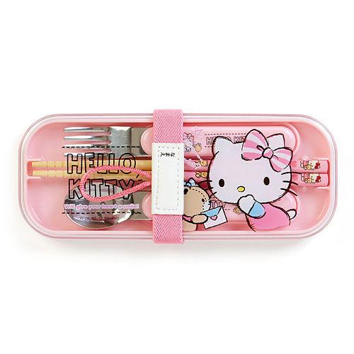 【震撼精品百貨】Hello Kitty 凱蒂貓~HELLO KITTY日本製餐具組附束帶(小熊秘語)