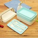 [拉拉百貨] ※出清※小麥秸稈飯盒 日式餐具 三層 便當盒 微波爐 學生 多層餐盒 壽司盒