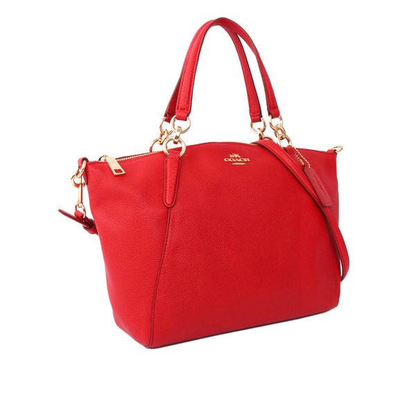 【COACH】馬車LOGO皮革金釦二用包(紅莓色)F36675 IMDN8