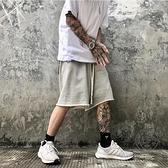 運動短褲男夏季薄款抽繩五分褲灰色寬鬆直筒毛圈短褲潮【小酒窩】