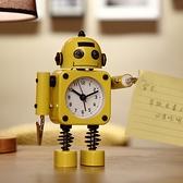 鬧鐘 學生用鬧鐘兒童卡通專用鬧鈴床頭可愛創意個性機器人小男孩時鐘錶【幸福小屋】