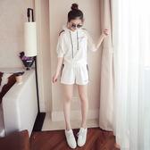 夏季新款韓版大碼連帽休閒運動套裝女時尚寬鬆短褲兩件套潮【全館滿一元八五折】