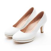 MICHELLE PARK 典雅 ‧ 線條壓紋金屬厚底高跟鞋-白