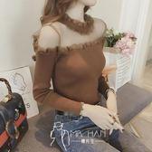 毛衣-春新款修身顯瘦性感網紗拼接透視露肩緊身上衣服潮-奇幻樂園
