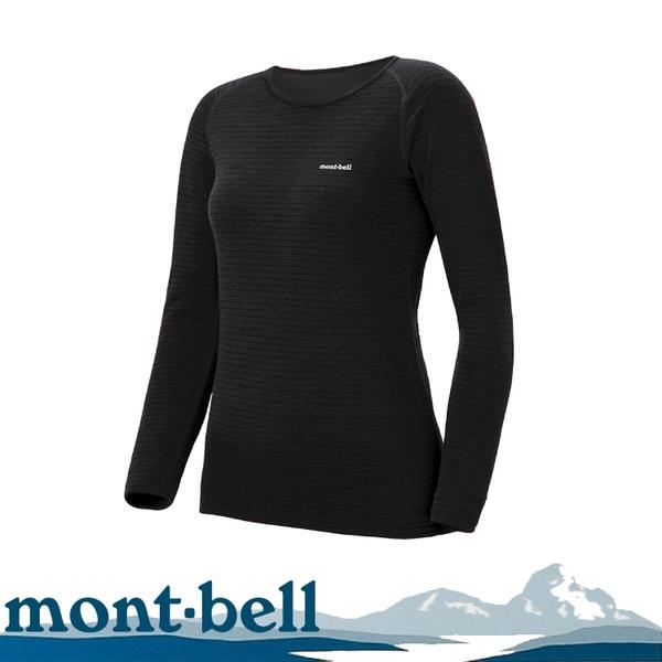 【Mont-Bell 日本 女 Super Merino Wool 長袖羊毛中內衣《黑》】1107574/保暖上衣