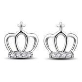 耳環 925純銀鑲鑽銀飾-流行皇冠生日情人節禮物女飾品2款73dy42[時尚巴黎]