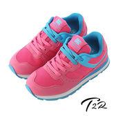 【韓國T2R】時尚撞色運動風氣墊增高鞋 ↑7cm 粉紅(5600-0157)
