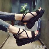涼鞋 夏季鬆糕厚底涼鞋女韓版交叉綁帶涼鞋羅馬厚底楔形涼鞋女鞋子 小艾時尚