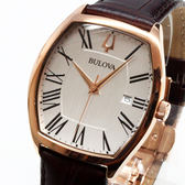 [萬年鐘錶] BULOVA寶路華  防水 方型造型  白錶面  咖啡皮錶帶  37x44mm 羅馬字體時標 97B173
