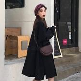 2019新款設計感花邊拼接寬鬆中長款長袖毛呢外套女裝 11-14 週年慶降價