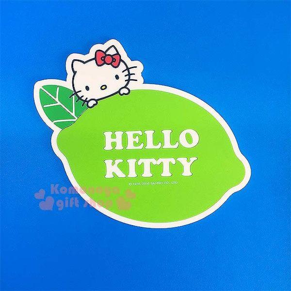 〔小禮堂〕Hello Kitty 造型環保防滑杯墊《綠.大臉.檸檬》生活小物4718733-20417