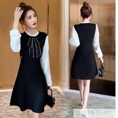 法式復古可鹽可甜風溫柔系氣質心機設計感顯瘦針織洋裝長袖裙子 韓慕精品