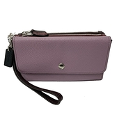 【COACH】三層牛皮拉鍊手拿零錢包(紫/咖/紅)