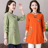 棉麻民族風上衣 女裝秋冬季新款大碼 寬鬆 中長款長袖復古刺繡花T恤 超值價