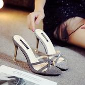 涼拖女鞋細跟室外半拖9公分夏季新品涼鞋高跟9cm正韓女細帶涼拖鞋