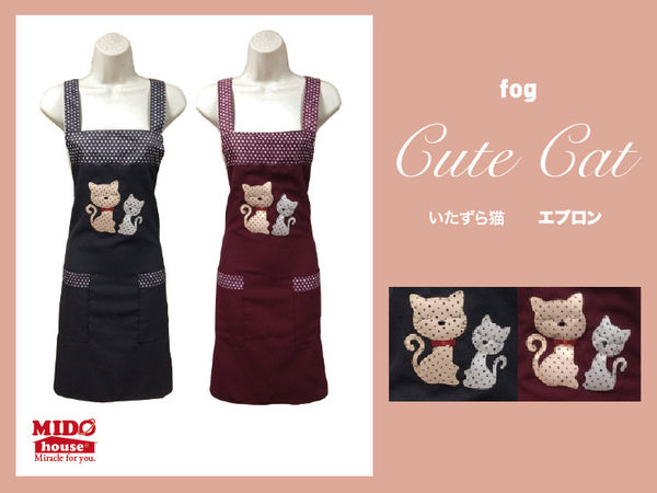 //GS552電繡貓兩口袋圍裙
