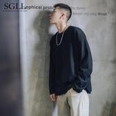 韓版潮流帥氣日系男裝嘻哈純色青少年秋裝情侶裝寬鬆國潮秋衣 提拉米蘇